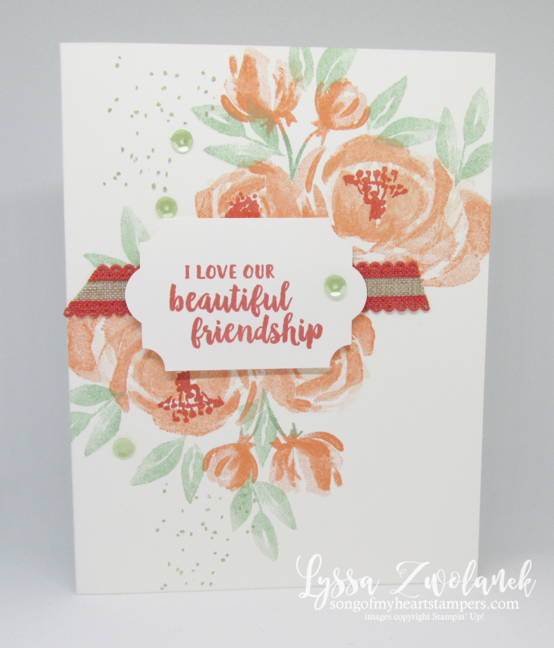 Beautiful Friendship thank you card cardmaking Stampin Up roses rubber stamps handmade stationery