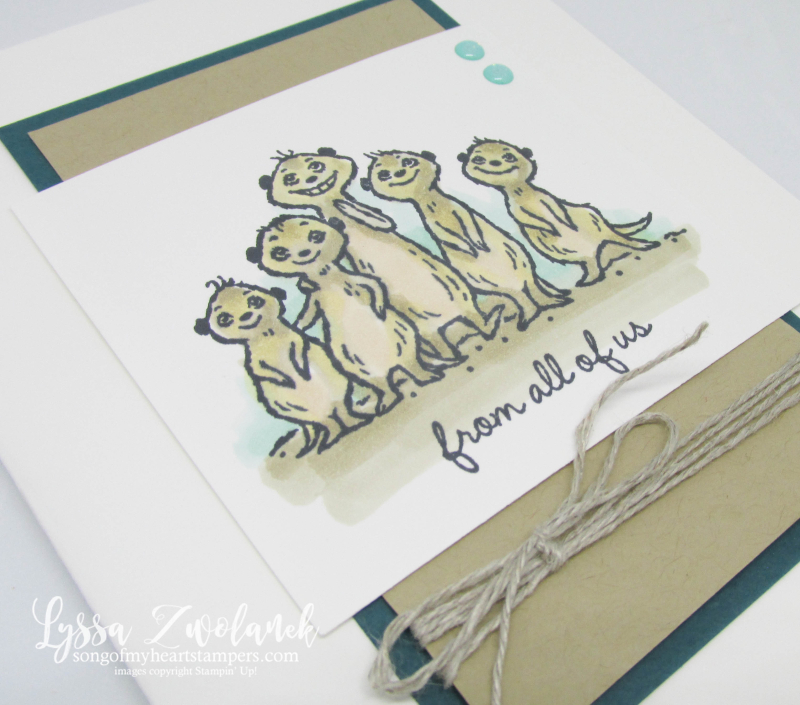 Meerkat gangs here Stampin Up saleabration meer rubber stamps Lyssa cardmaking DIY
