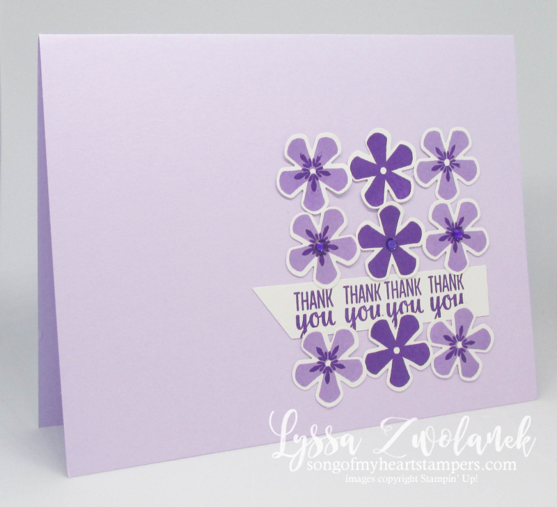 Thoughtful Blooms Stampin Up saleabration SAB rubber stamps punches Purple Posy flowers free