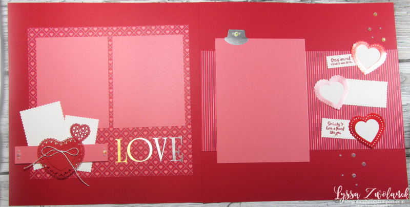 MLL January 2020 box Stampin Up page layout valentine wedding family love adoption theme 12x12 scrapping