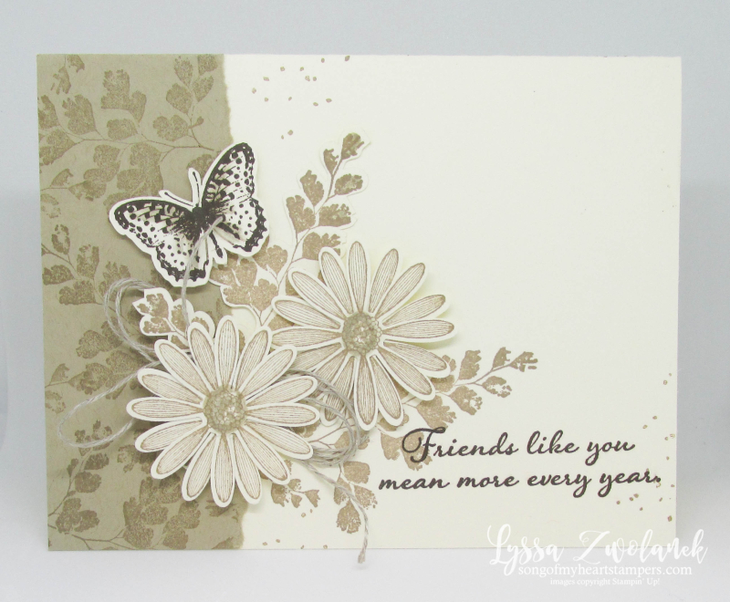 Positive Thoughts rubber stamps Stampin Up butterflies ferns nature techniques