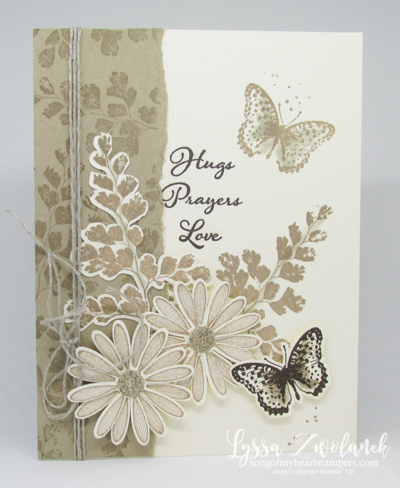 Positive Thoughts rubber stamps Stampin Up butterflies ferns nature praying