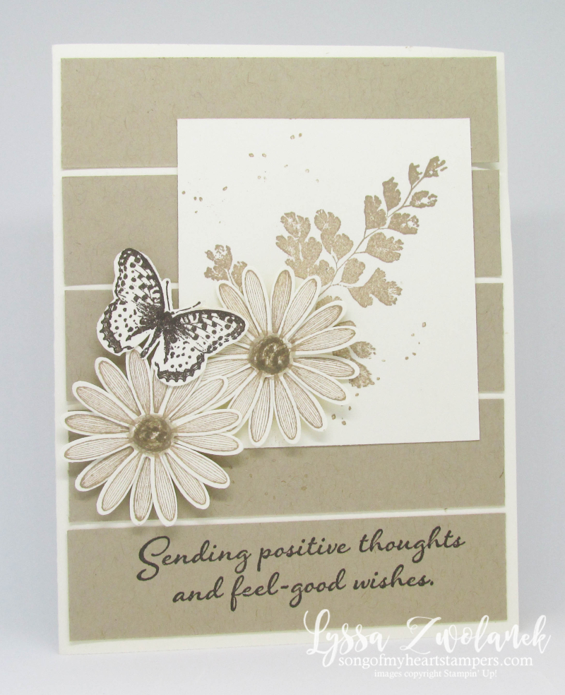 Positive Thoughts rubber stamps Stampin Up butterflies ferns nature scrap strips