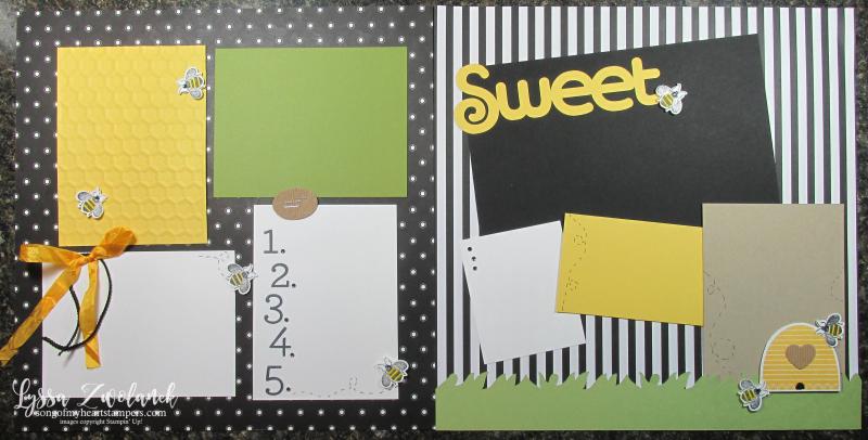 Honeybee Hive Golden Honey papers scrapbook pages layouts birthday sweet bee Stampin Up Lyssa