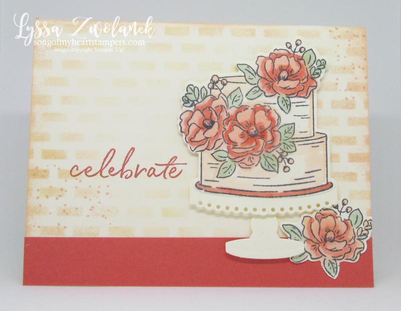 Happy Birthday You wedding cake anniversary engagement brick wall backdrop peach Stampin Up