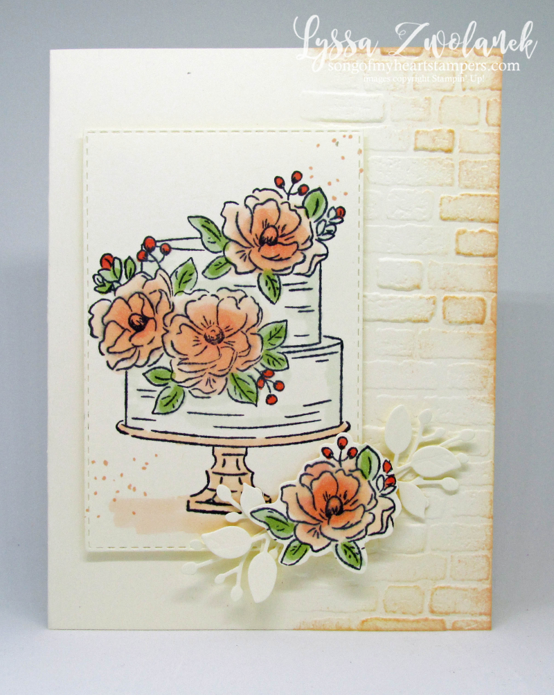 Happy Birthday You wedding cake anniversary engagement brick wall peach Stampin Up