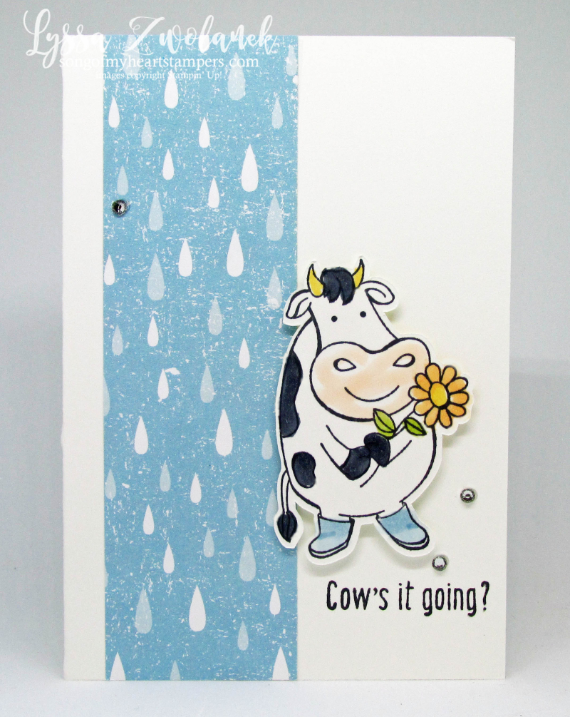 Cows it going cow farm barn stamps Stampin Up Lyssa rainy day wellies umbrella