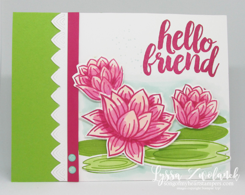 Lovely Lily Pad Stampin Up lake lotus waterlilies rubber stamps free cardmaking techniques