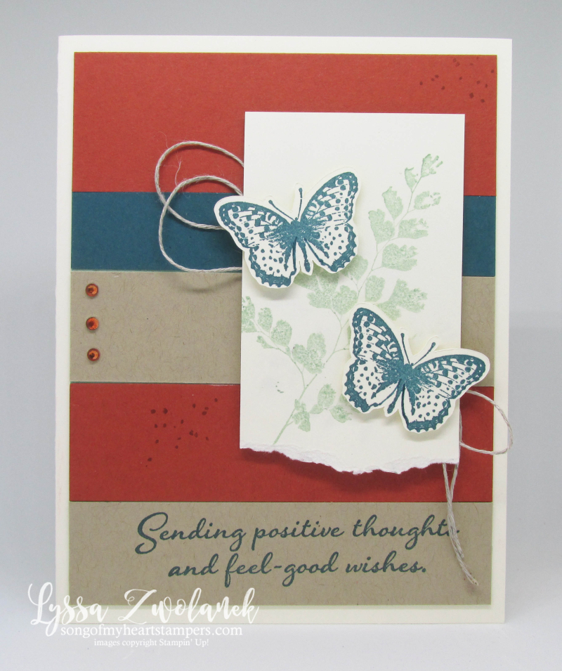 Positive Thoughts Stampin Up rubber stamps ferns butterflies get well prayers cardstock
