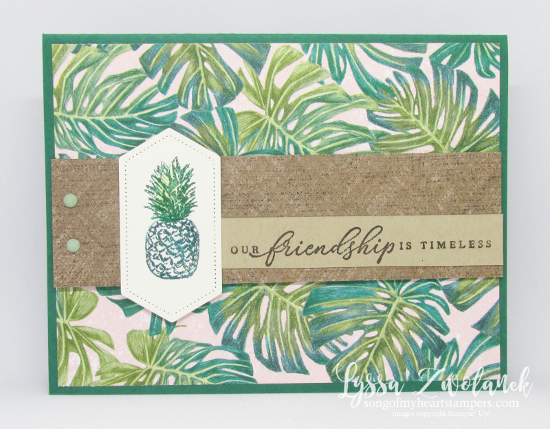 Timeless tropical oasis Stampin Up palms vintage surf pineapple hawaii rubber stamps
