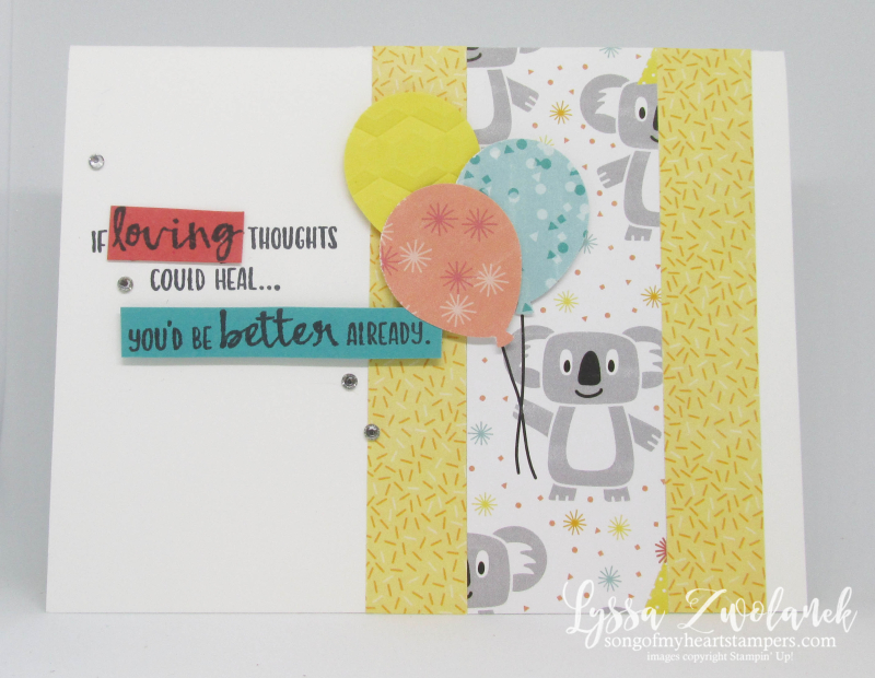 Sending You Thoughts SAB Stampin Up free printable idea balloons koala birthday kids cards
