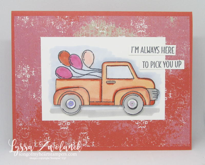 Let it ride Stampin Up little pickup truck trip road masculine birthday balloons