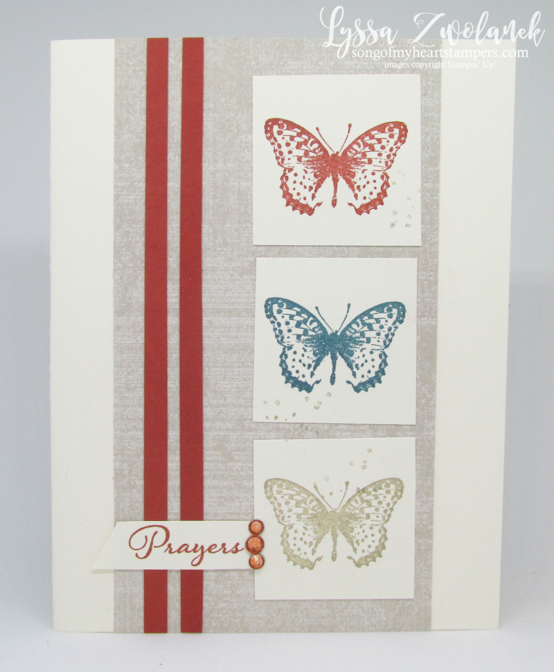 Positive Thoughts Stampin Up rubber stamps ferns butterflies get well prayers hugs