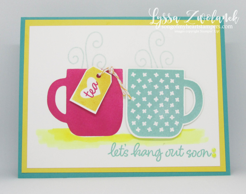 Rise and shine Stampin Up rubber stamps idea sheets Lyssa coffee mugs tea