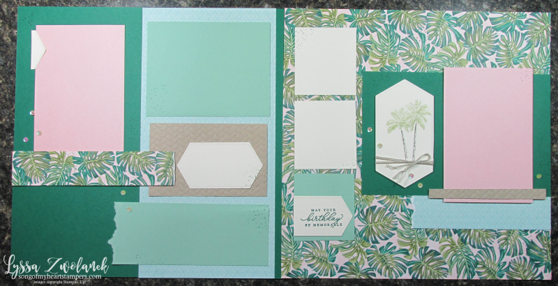 Timeless tropical Hawaiian Florida scrapbooking beach luau cruise palms pineapple vacation 12x12 Stampin Up