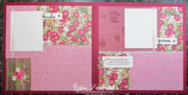 Pressed Petals Layout Library suite sampler Stampin Up scrapbooking 12x12 papers layouts bride groom wedding