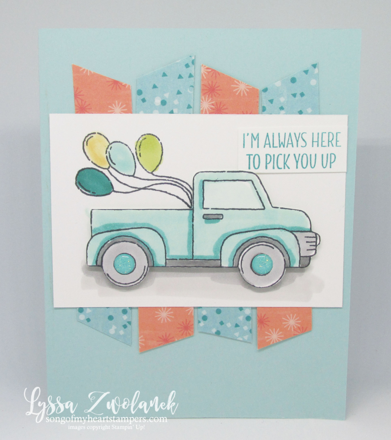 Let it ride Stampin Up little pickup truck masculine birthday balloons