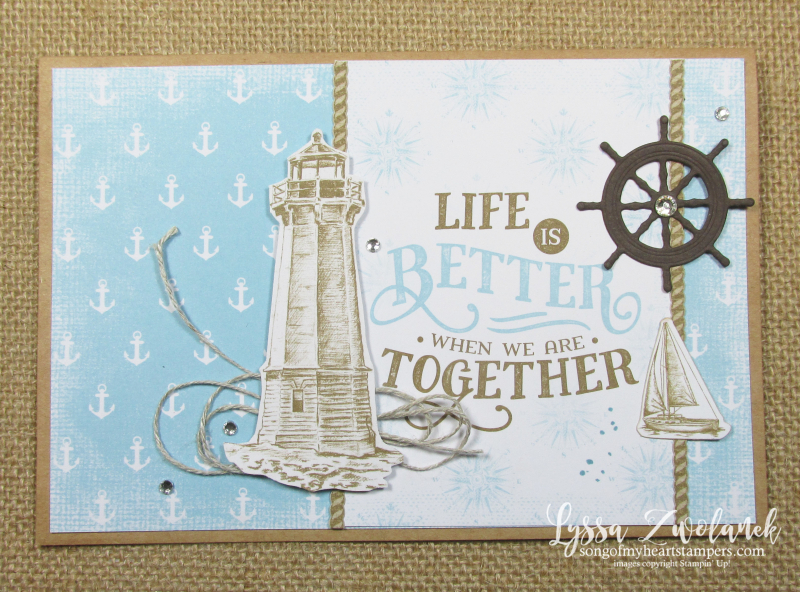 Come Sail Away lighthouses beach shore Stampin Up masculine card stamps