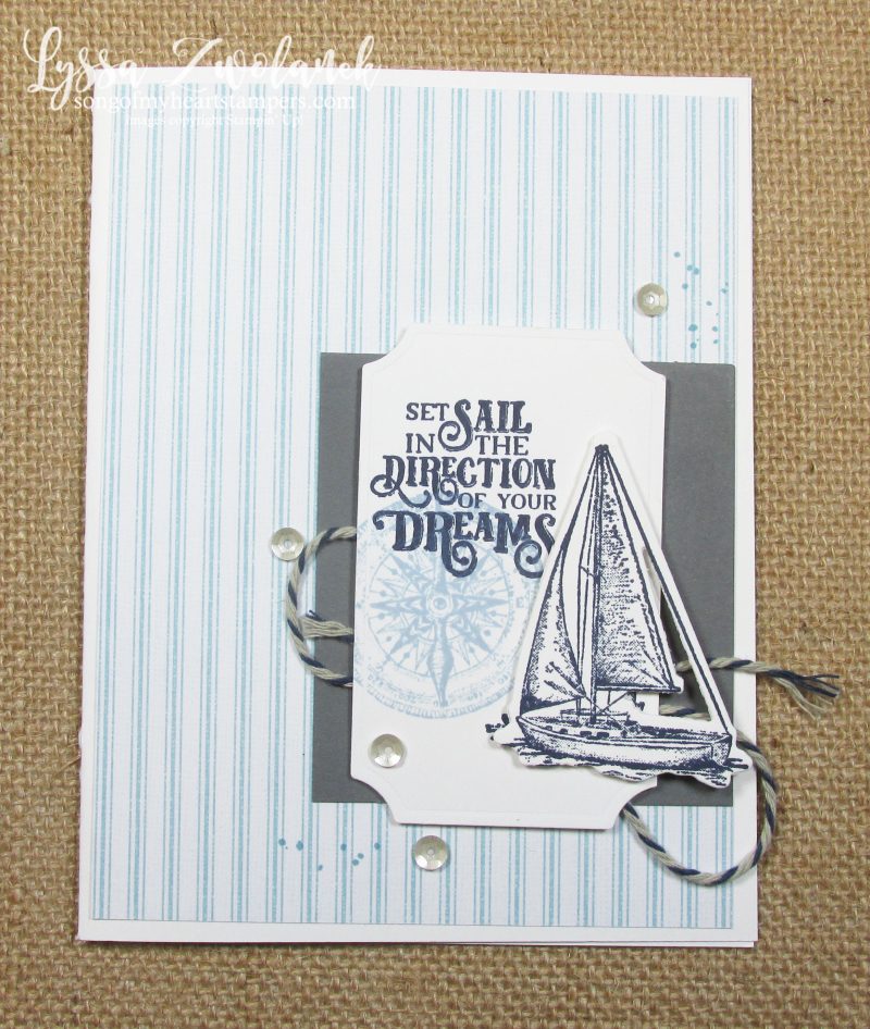 Come Sail Away lighthouses beach shore sailboat Stampin Up masculine card supplies