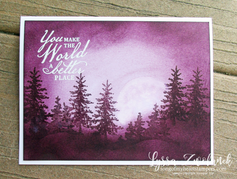 Purple velvet nightscape technique Snowfront stamp set Stampin Up Lyssa card ideas