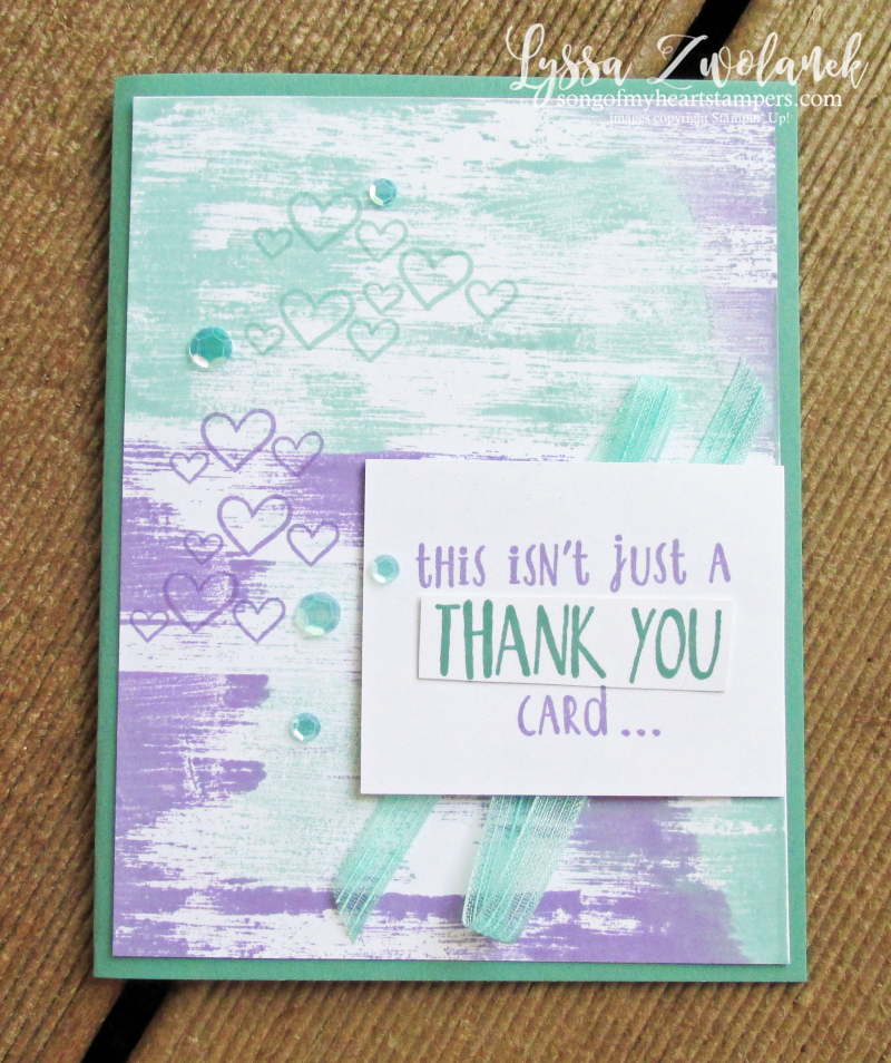 Hug fold middle funny Stampin Up drybrush background technique purple aqua