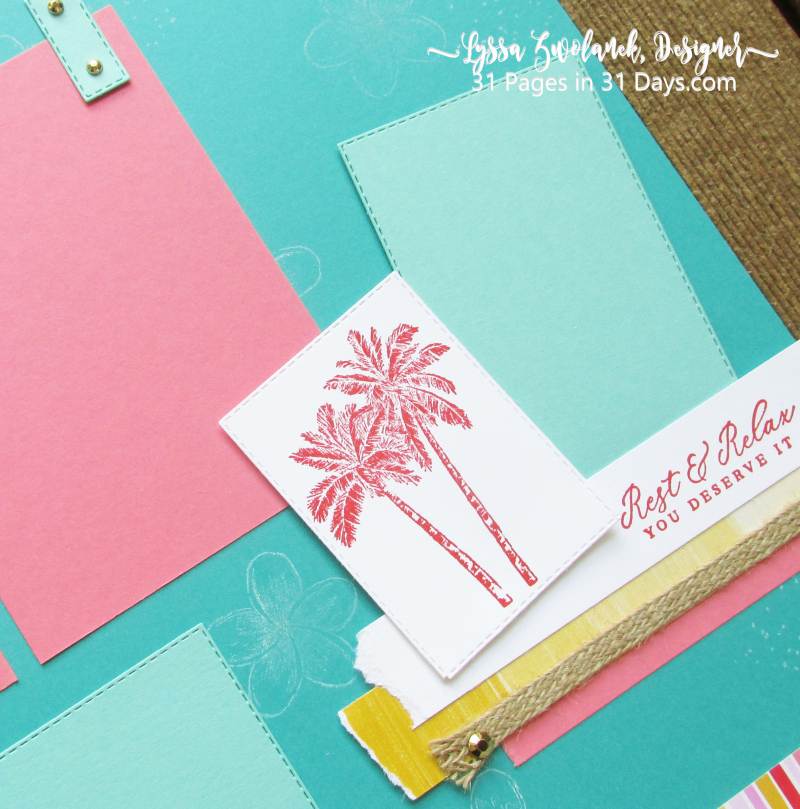 31 Pages Days Tropical Pool Party scrapbook pages abums 12x12 Stampin Up beach palm oasis