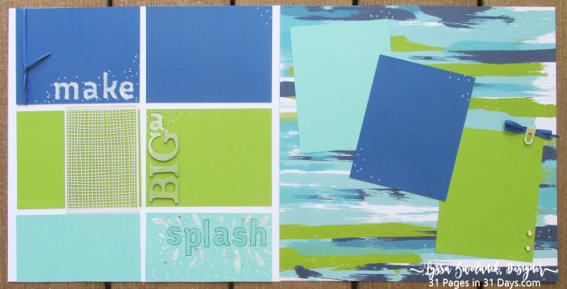 31 days pages scrapbooking layouts pool party beach ball Lyssa Stampin Up 12x12 albums