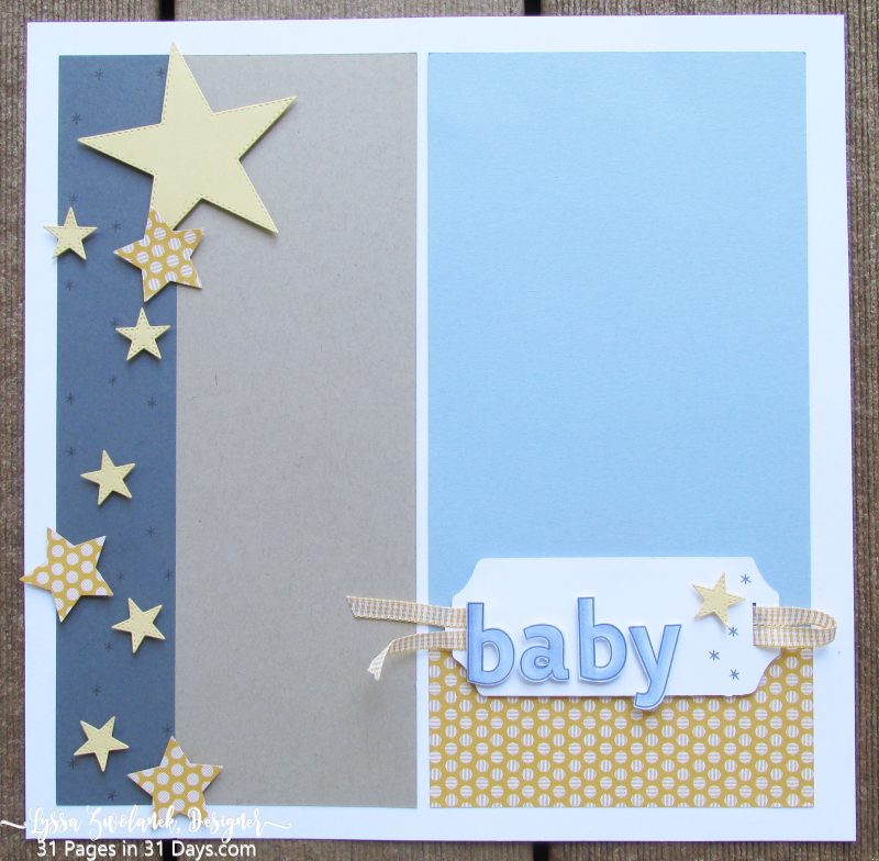 31 days pages Lyssa baby page layout scrapbooking album stars nursery
