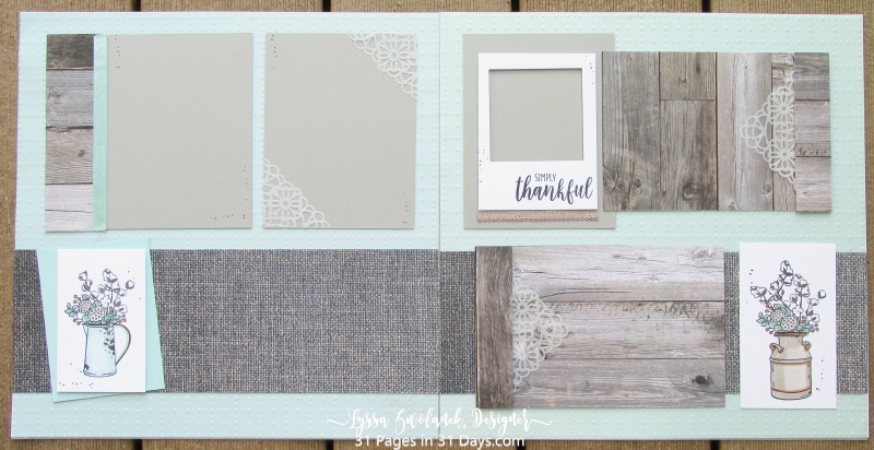 31 days Lyssa pages album scrapbooking Stampin Up rustic barnwood wedding mason jar burlap