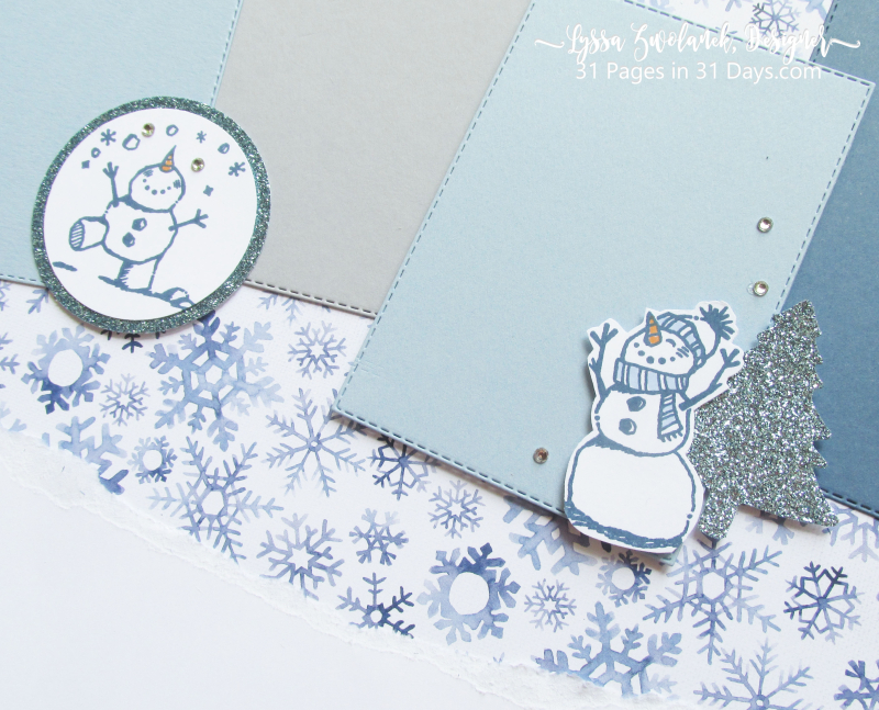31 pages days winter album layouts scrapbooking Stampin Up snowmen snow