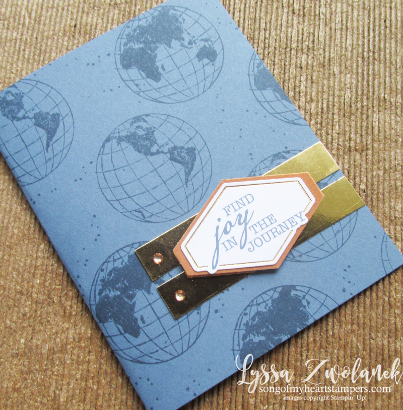 World Good globe travel journey adventure masculine cards Stampin Up 12x12 layout Lyssa