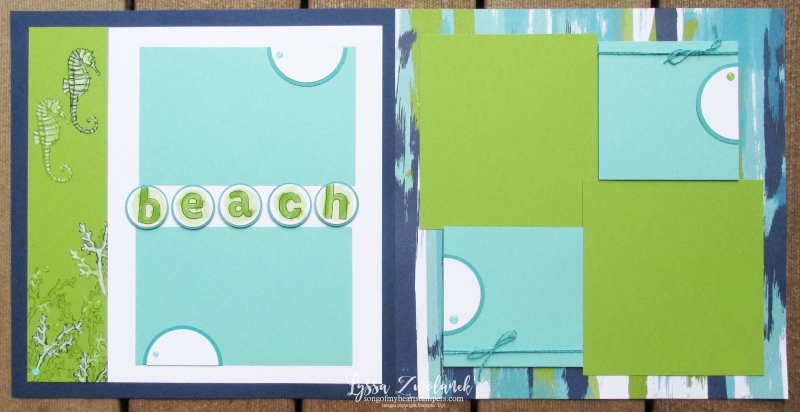 Scrapbook School Summer beach pool ocean shore layouts album 12x12 Stampin Up Lyssa ideas