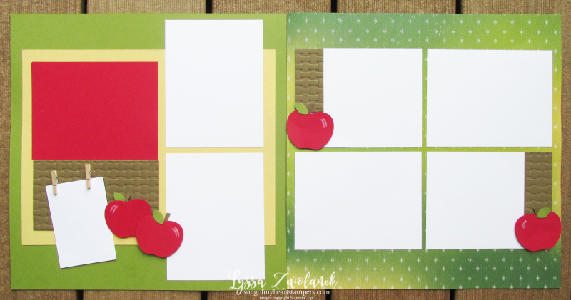 Scrapbooking Summer school Lyssa stampin up layout albums class apple fall harvest12x12 papers library