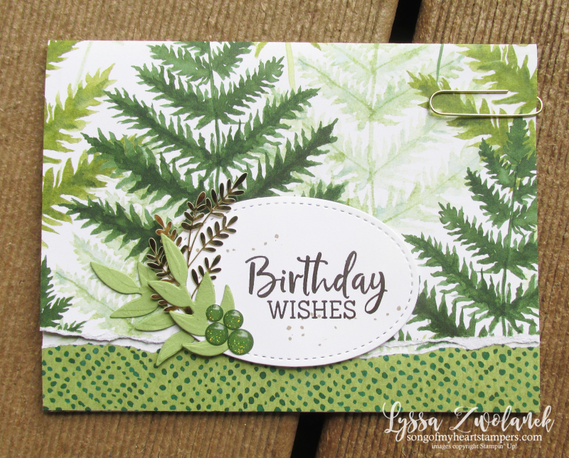 Forever greenery gold ferns Stampin Up Lyssa cardmaking supplies papers fancy fold cards rubber stamps