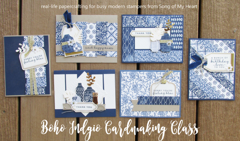 Boho indigo class Lyssa Stampin Up papers medley blue white tutorial instructions techniques layouts