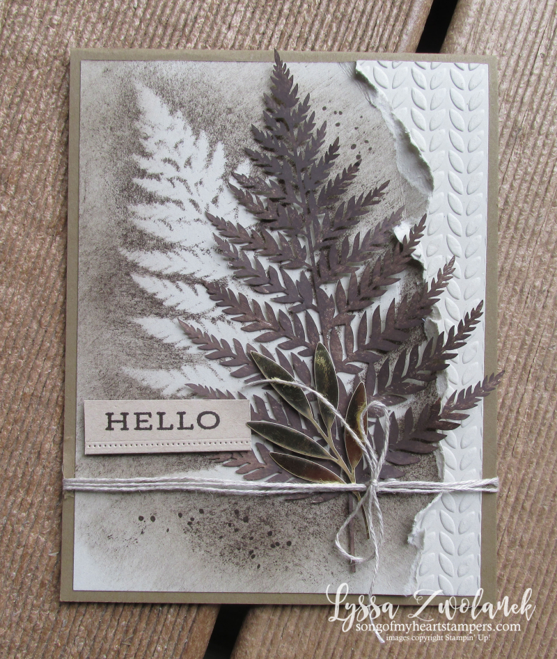 Forever greenery gold ferns Stampin Up Lyssa cardmaking supplies stencil cards rubber stamps
