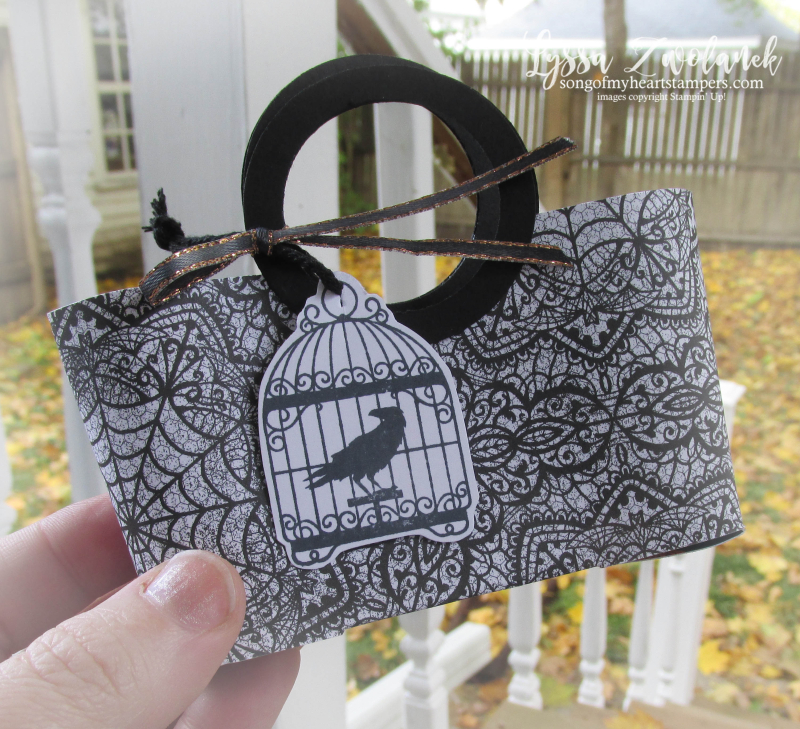 Halloween jack skellington goodie candy bag tote paper craft mini Stampin Up magic night