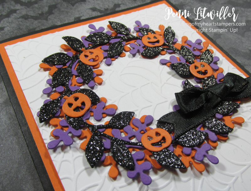 Halloween arrange a wreath Stampin Up DIY cardmaking supplies paper rubber stamps ink