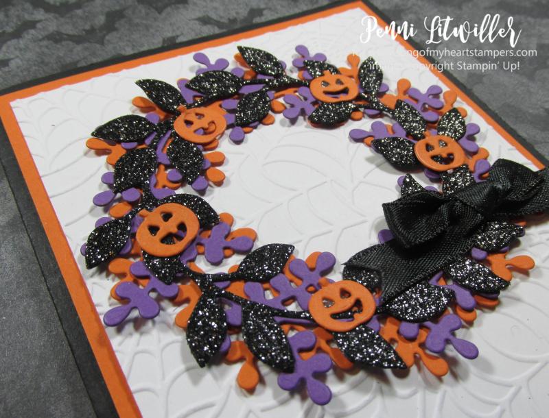 Halloween arrange a wreath Stampin Up DIY cardmaking supplies paper rubber stamps ink