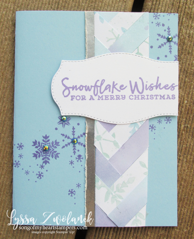 Braided paper technique Lyssa Stampin Up Snowflake Splendor 12x12 papers cardmaking Christmas scrapbooking