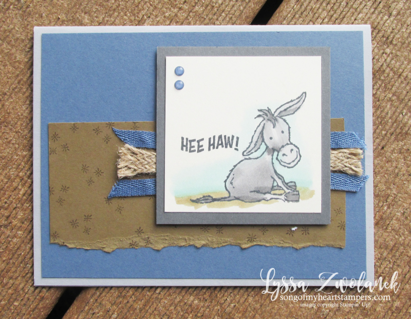 Darling Donkeys Lyssa SAB Stampin Up free set printable idea sheets cardmaking DIY