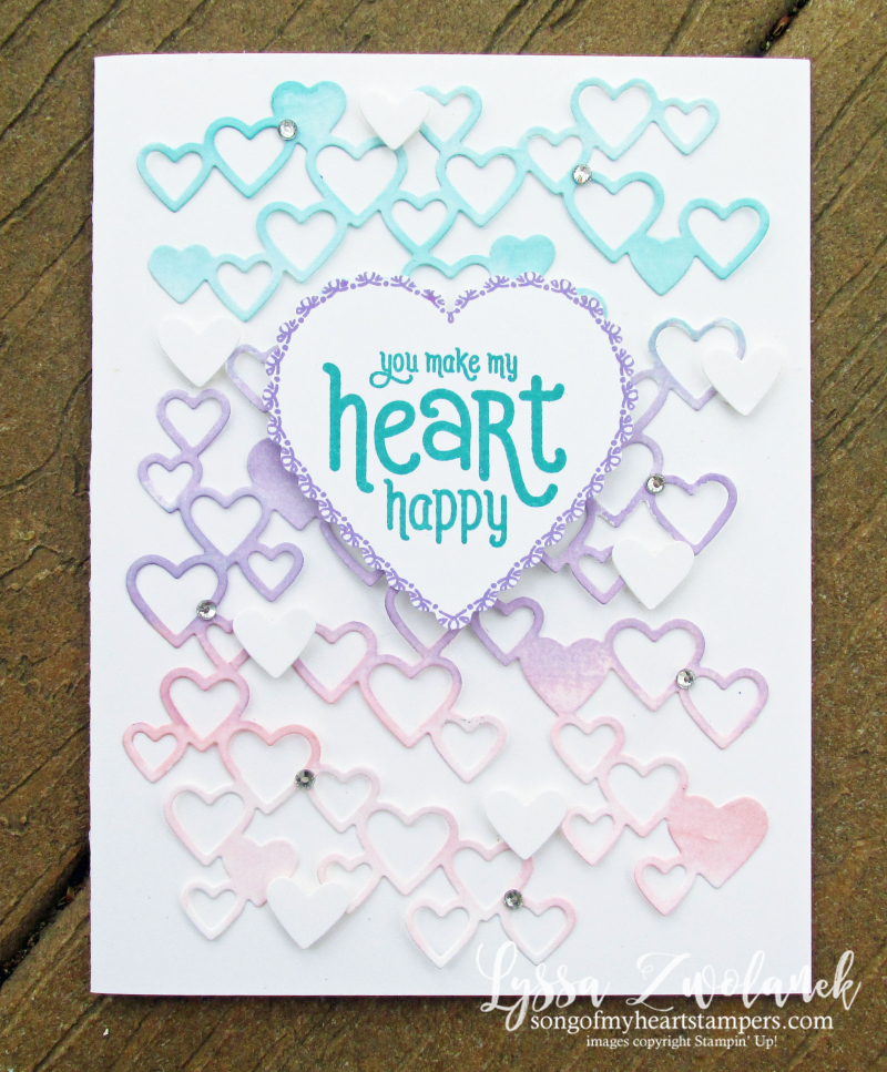 Detailed Hearts die watercolor technique Stampin Up Lyssa valentine love wedding anniversary cardmaking invite
