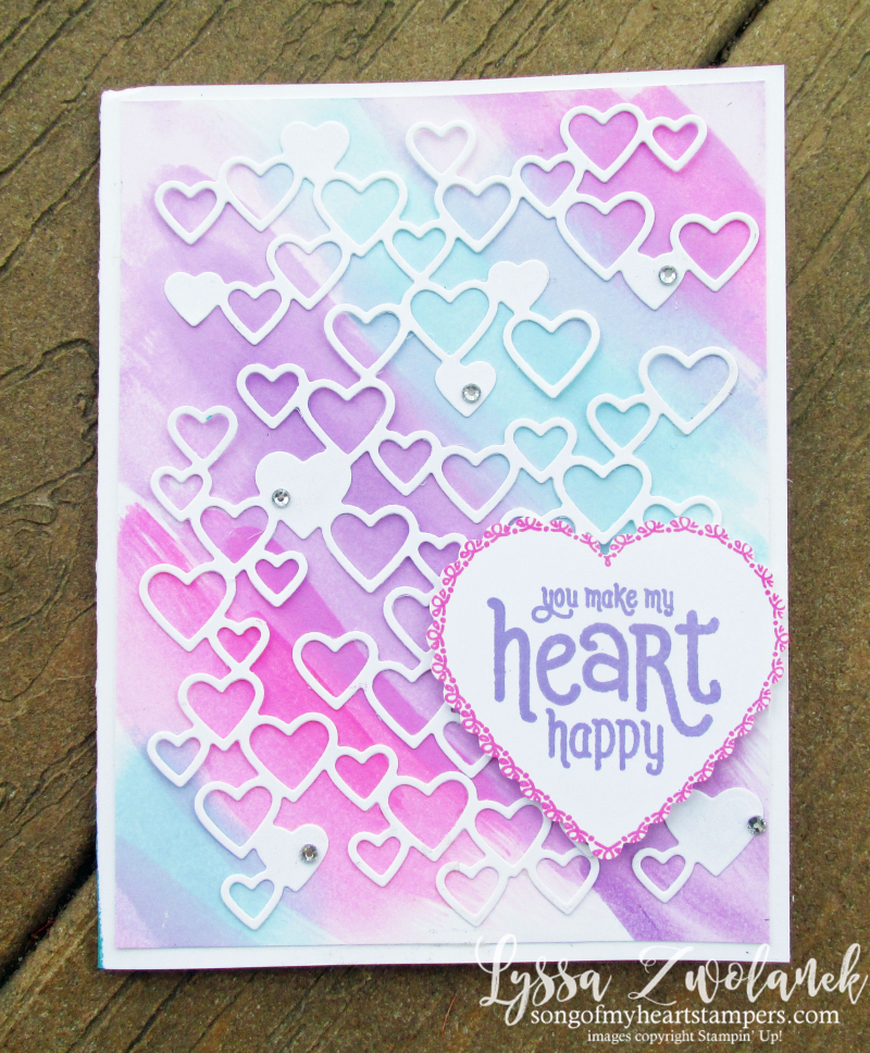 Detailed Hearts die watercolor technique wash Stampin Up Lyssa valentine love wedding anniversary cardmaking invites