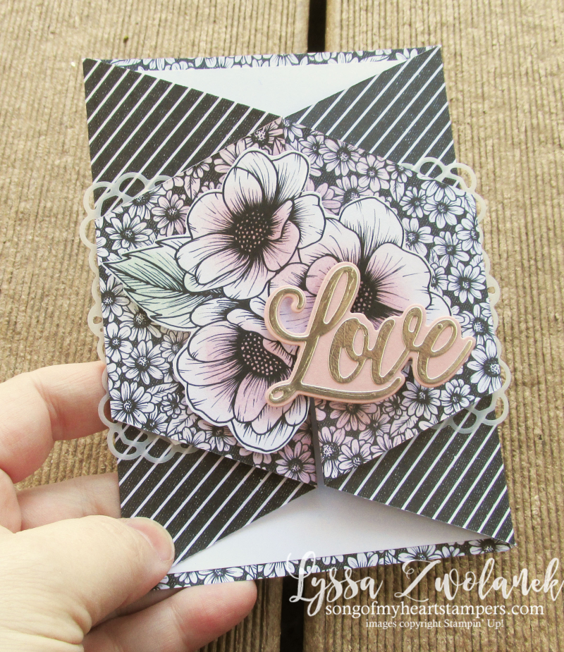 Always Heart true love valentine Stampin Up diagonal fancy fold cuts 4 DSP