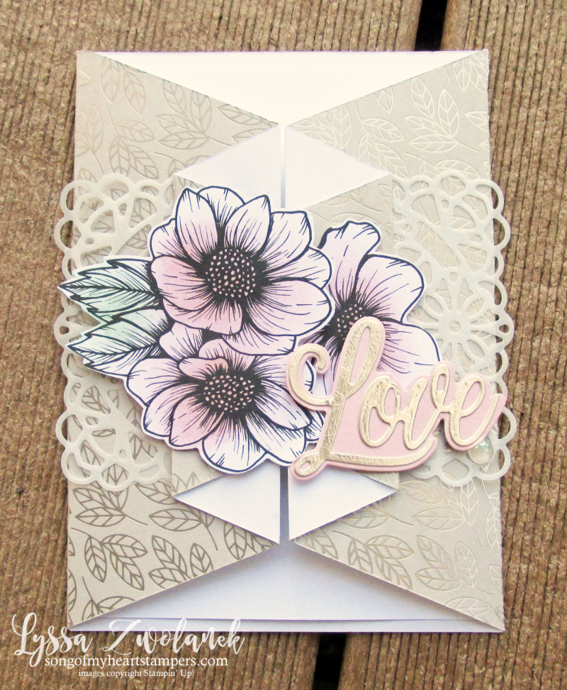 Always Heart true love valentine Stampin Up 4 cut diagonal fancy fold tutorial DSP