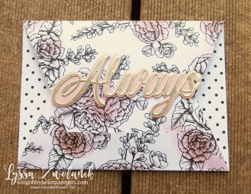 Always Heart true love valentine Stampin Up 4 fancy diagonal cut fold DSP