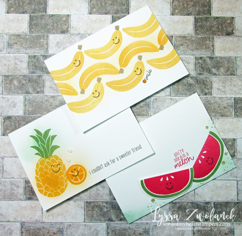 Cute fruit cards free Stampin Up Lyssa tutorials ideas cardmaking helpers