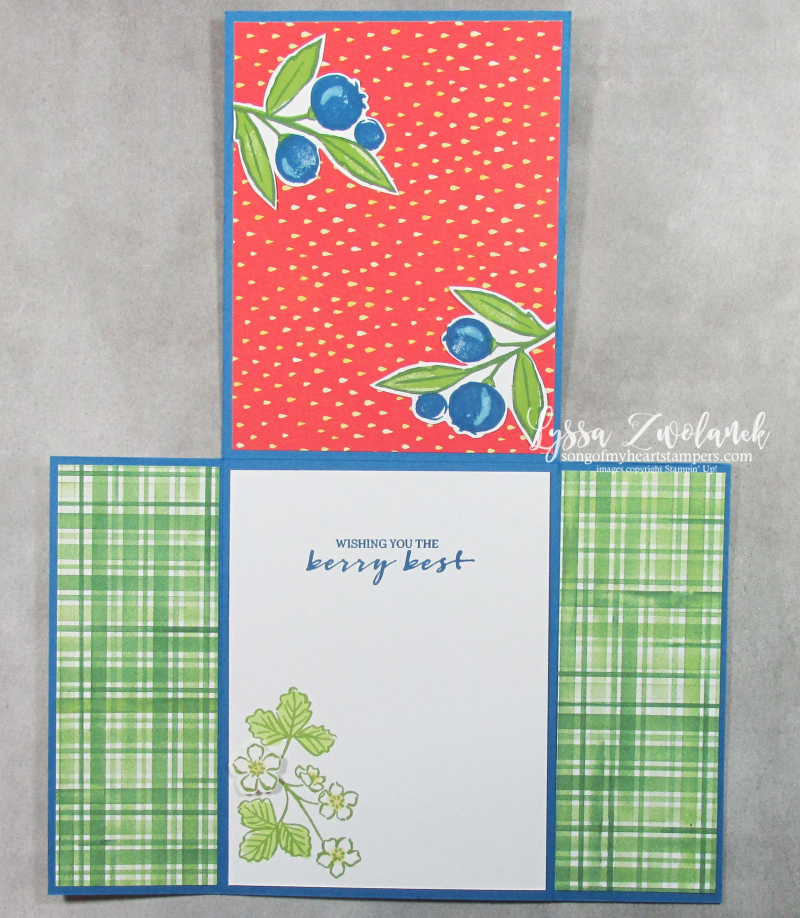 Berry blessings card fancy fold Saleabration Stampin Up delightful strawberry punch blueberries stamps
