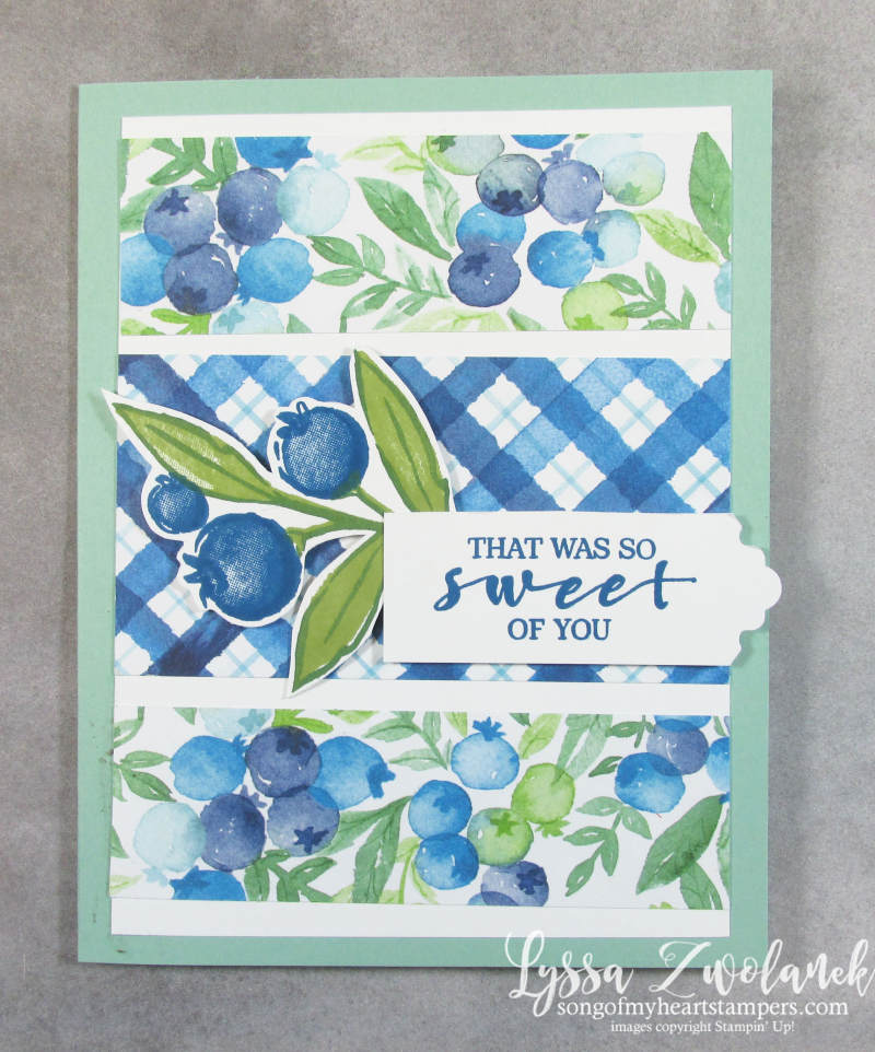 Blueberry blessings Saleabration Stampin Up plaid basket card stamps papers