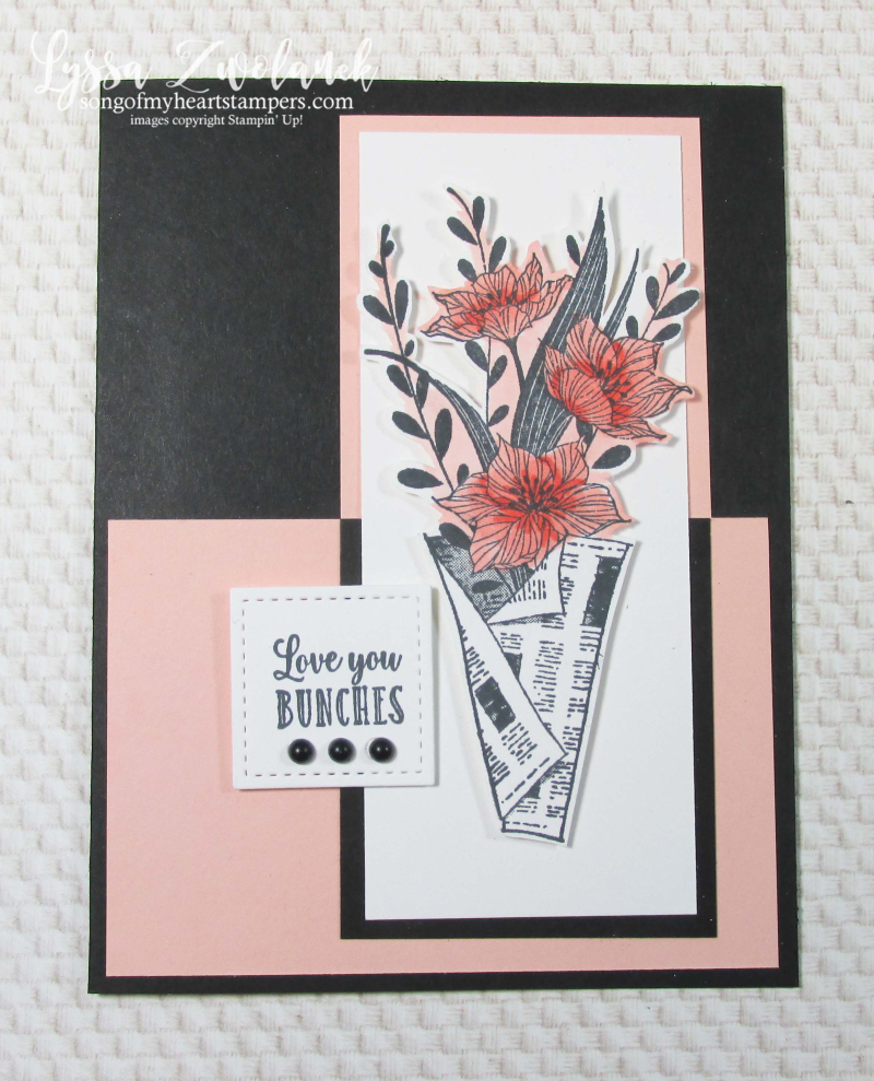 Wrapped Bouquet stampin Up Lyssa newsprint newspaper flowers mothers day cards